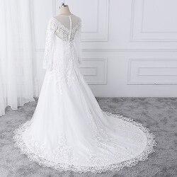 wuzhiyi vestido de noiva Boat neck wedding dresses lace applique wedding gown Zipper back buttons marriage Gown robe de soiree 5