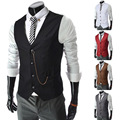 Men's Red Brown Suit Vest Work Beckham V-necked Man Formal Waistcoat colete inverno For Men