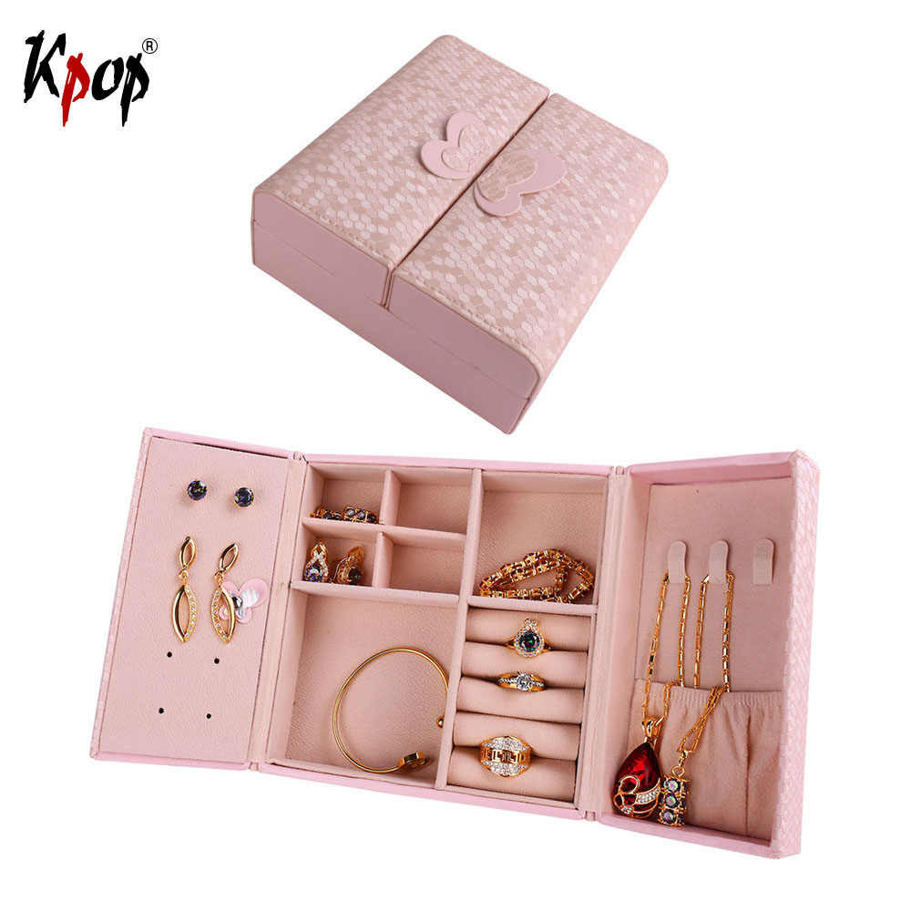 Kpop Square Shape Double Door Box Display PU Leather Travel Case Storage Box Carrying Cases For Earrings Necklace Jewelry OB104