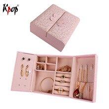 Коробка для хранения ювелирных изделий Kpop, прямоугольная коробка с двойной дверью, дисплей, искусственная кожа, футляр для хранения серьги ожерелье OB104