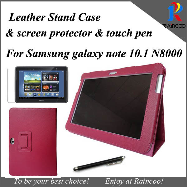 "Lychee PU leather stand case for samsung galaxy note 10.1"" N8000, N8010 stand cover+ screen film + touch pen"