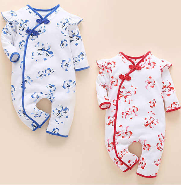 Neonate baby cotton clothes girl long sleeve flower jumpsuit Chinese style