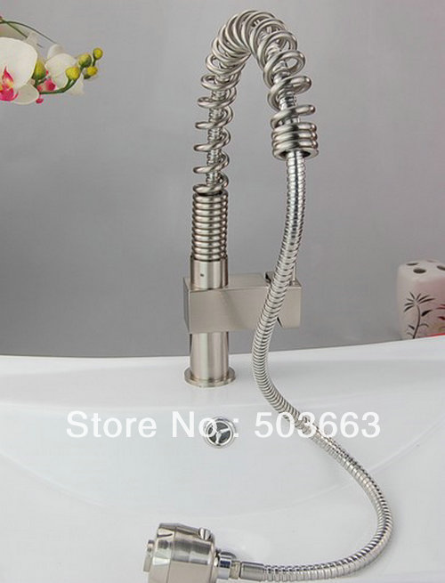 New  Brushed Nickle Single Handle Brass  Kitchen Faucet Basin Sink Can Pull Out 75cm Spray  Mixer Tap S-811 Mixer Tap Faucet gizero free shipping orange spring kitchen faucet brushed nickle finish single handle hot cold water crane mixing tap gi2069
