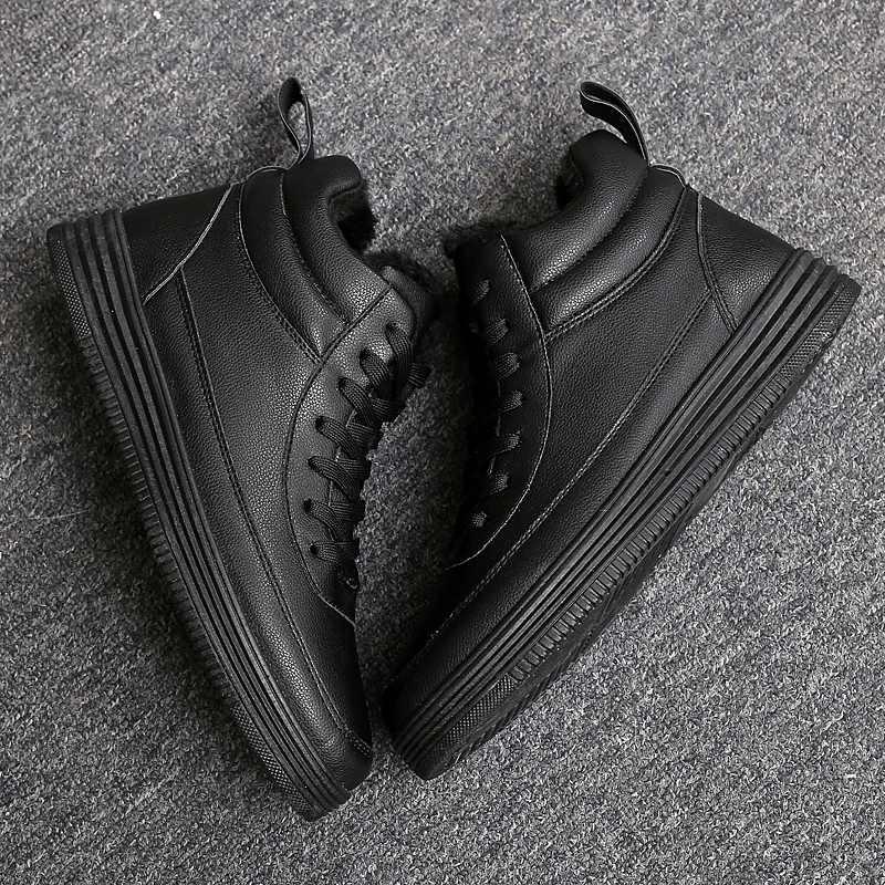 06b943d8 ... Tendencia juvenil 2018 zapatos vulcanizados de hombre negro y blanco de  encaje de invierno para mantener ...