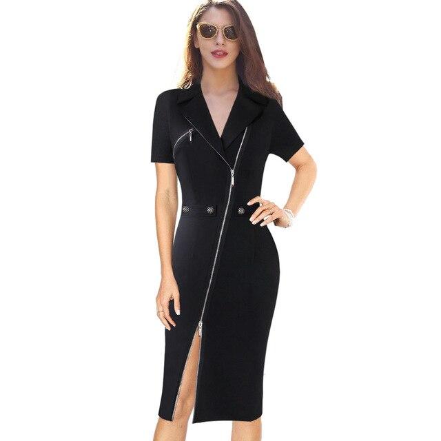 Vfemage Для женщин пикантные элегантные с лацканами с асимметричной молнией Moto Кнопка Повседневное офисные Бизнес вечерние облегающее Vestido платье-футляр 10079