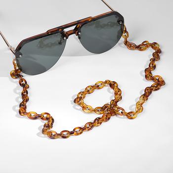 Leopard akrylowy łańcuszek do okularów przeciwsłonecznych Chic damski łańcuszek do okularów do czytania łańcuszek do okularów do okularów uchwyt na przewód smycz na szyje smycz 70cm tanie i dobre opinie WOMEN Akrylowe Łańcuchy i smycze Okulary akcesoria 11263 Ze stopu cynku Geometryczne glasses chain Acrylic chain Glasses accessories For Women