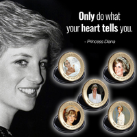 WR Quality 24k the Princess of Wales Gold Plated Metal Coin Colored Diana Golden Commemorative Coin for Collection