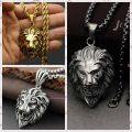 316L Stainless Steel Handsome Men's Silver Gold Black Loin King Pendent Necklace Chain With Free Box Aderdeen&False Twist Chain