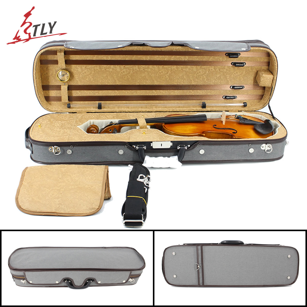 Factory Store New Plywood & Gray Canvas Rectangle Violin Case w/ Hygrometer Straps for 4/4 3/4 1/2 1/4 1/8 Violin high grade pleuche rectangle violin case 4 4 3 4 1 2 1 4 w hygrometer black oxfordbuit in high quality violino case