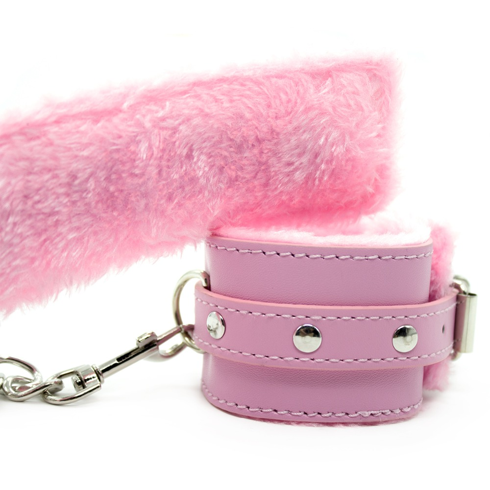 Pink Faux Leather Soft Fur Handcuffs Ankle Cuffs Fantasy Lover Roleplay Set