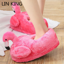 Купить с кэшбэком LIN KING Sweet Cartoon Flamingo Indoor Slippers Women Men Warm Winter Home Shoes Non-slip Lovers House Floor Cotton Padded Shoes