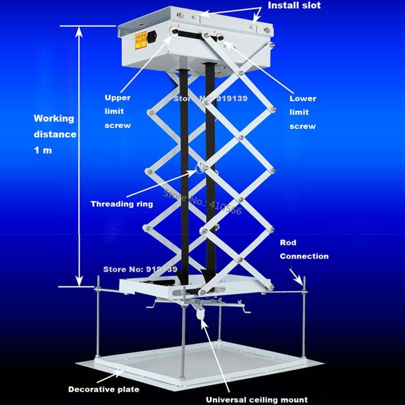 Лучшая цена Дистанционное управление Моторизованный Лифт тихая работа проектор лифт 100 см Бег расстояние Применение для DLP ЖК-дисплей свето…