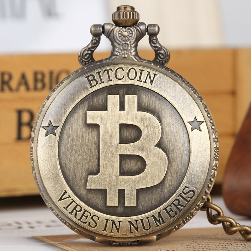 Retro Antique Bitcoins Coin Collectible Pocket Watch Physical Commemorative Casascius Necklace Pendant Bit Coins Art Collection
