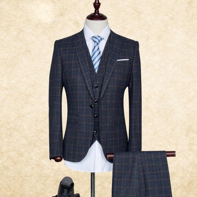 High-quality (jacket+pants+vest)male suit autumn winter sets tide brand fashion coat lattice three piece personality slim blazer