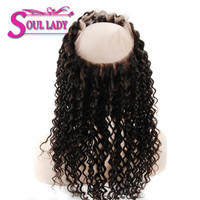 Soul Lady 360 Lace Frontal Brazilian Deep Wave Human Hair Free Part Pre plucked Closure Swiss Lace Remy Hair 1Piece 10 20inch