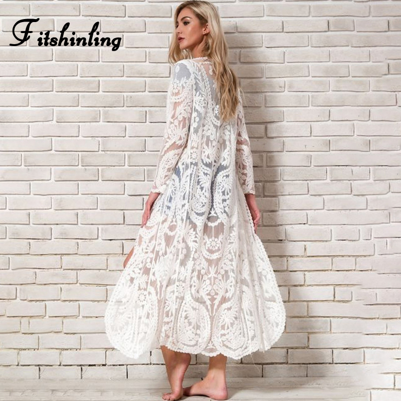 Fitshinling Bohemian White Beach Cover-Up Swimwear Sarong Embroidery Lace Kimono Sexy Transparent Long Cardigan Saida de Praia