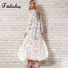 Fitshinling-Long, Cover Up pour la plage, Sarong en dentelle brodée, Kimono, Sexy, Transparent, pour la plage