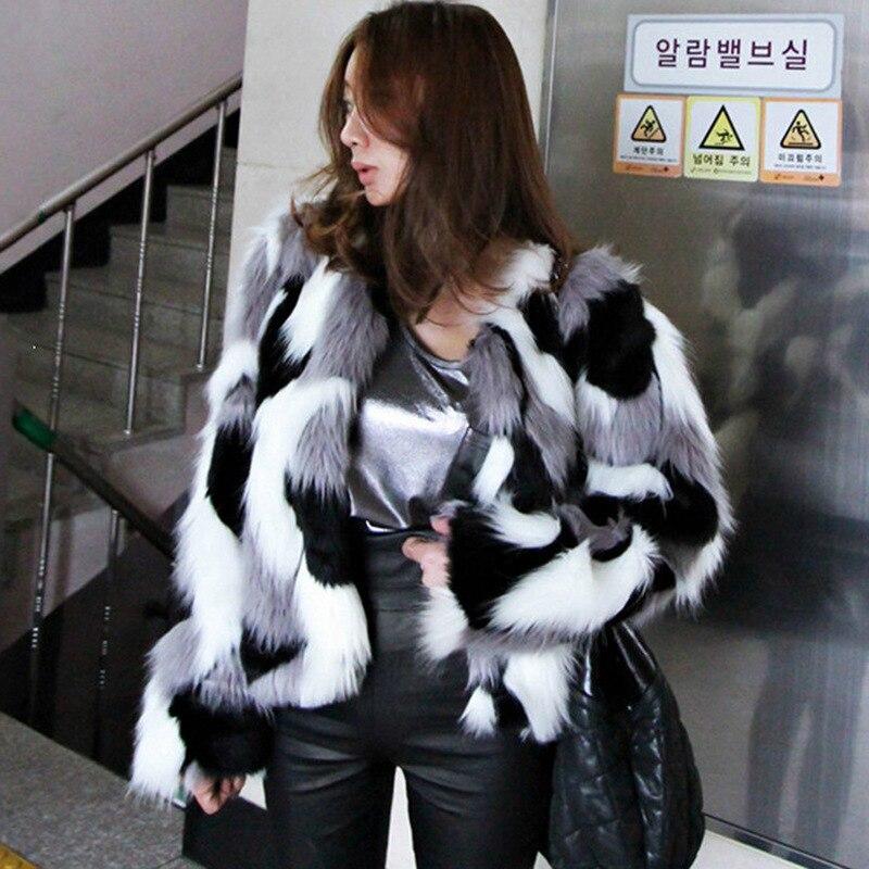 3e00be3635f ZADORIN 6XL Plus Size Mixed Color Faux Fur Jacket Women Warm Winter Faux  Fur Coat Female Outerwear fourrure femme gilet fourrure-in Faux Fur from  Women s ...