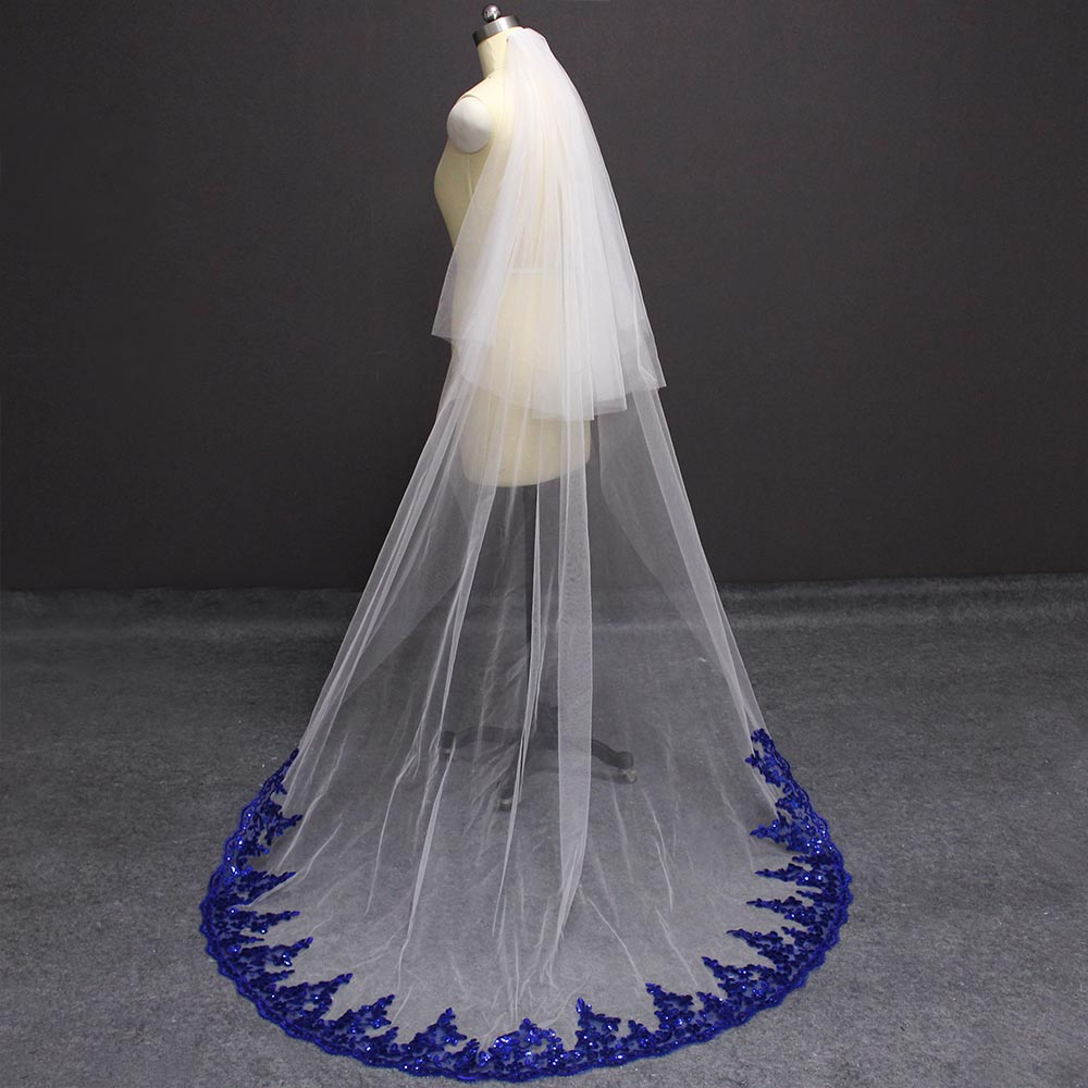 Royal Blue Lace White Ivory Tulle