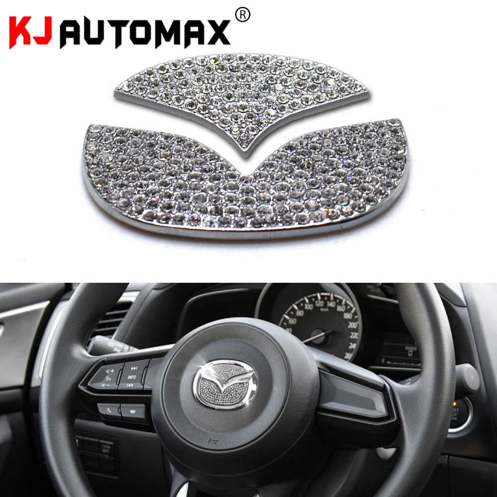 Bling Bling Car Steering Wheel Decorative Diamond Sticker Fit For Mazda,DIY Bling Car Steering Wheel Emblem Bling Accessories Interior for Mazda 3,6,cx-3,cx-4,cx5,cx9