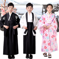 Japanese Style Kimono Children Clothes Suit for Boy Japanese Samurai Clothing Girls Costumes Yamato National Girls Clothes Sets