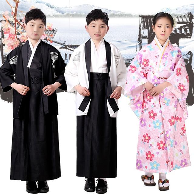 Japanese Style Suit For Boy Kimono Sets Children Clothes Samurai Clothing Girls Costumes Yamato National