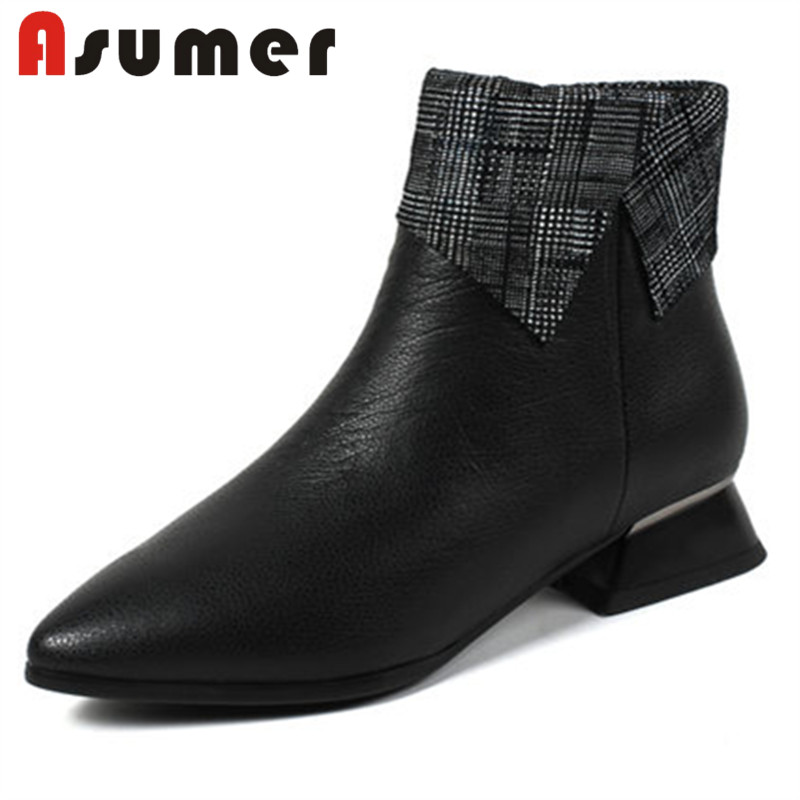 ASUMER NEW 2018 fashion black ankle boots for women popular mixed colors winter boots shallow pointed toe genuine leather bootsASUMER NEW 2018 fashion black ankle boots for women popular mixed colors winter boots shallow pointed toe genuine leather boots