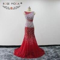 Rosa Moda Red Sirena Vestido de Fiesta de Cristal de Baile Vestidos con Espalda Baja Opacidad Vestido de Fiesta 2018