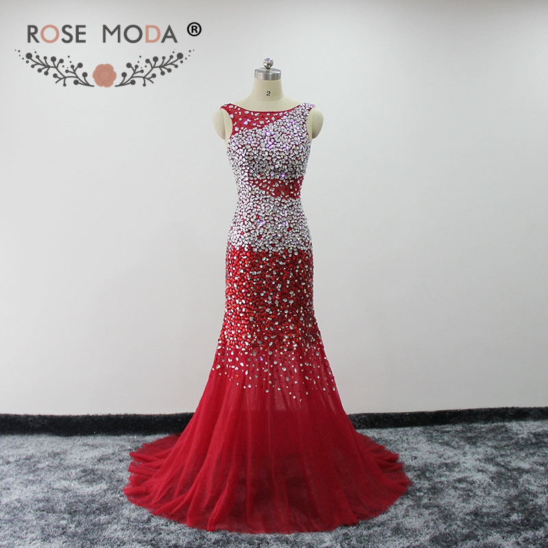 Rose Moda Red Mermaid   Prom     Dress   Crystal Reflective   Dresses   2019