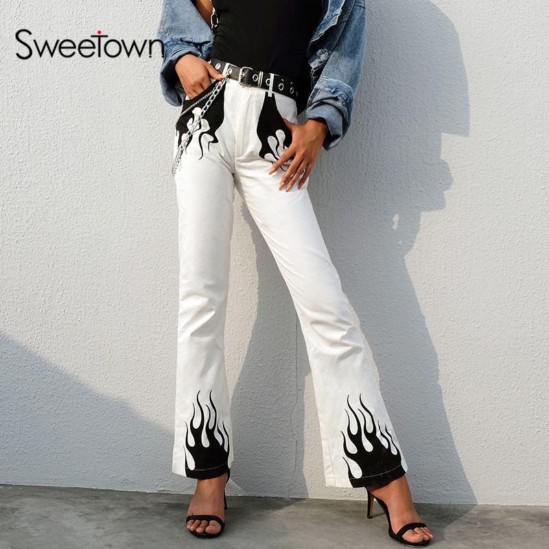 Sweetown White Cotton Flaming Fire Print Flare Pants Women New Arrival 2019 Womens Plus Size Fashion Pockets Boot Cut Trousers