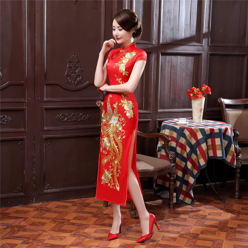 Shanghai histoire phoenix broderie orientale robes de style Qipao femmes robe traditionnelle chinoise Cheongsam longue robe chinoise rouge