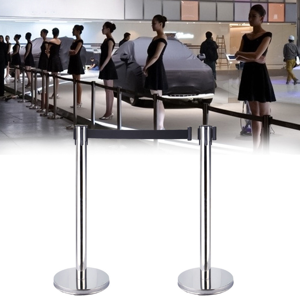 (Ship from EU) 2Pcs Stanchion with Retractable Belt Accessories For Queue Crowd Control low price for 2 pcs hotel 3m retractable belt vip crowdcontrol retractable tensa barriers queue way post