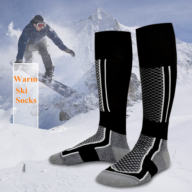Winter Warm Men Women Thick Ski Socks Outdoor Sports Snowboard Soccer Climbing Hunting Warmers Cotton Long Stocking