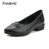 2018 nueva moda retro primavera verano con escoge los zapatos negros zapatos de cuero genuinos de las mujeres modelos de venta trabajan zapatos casuales