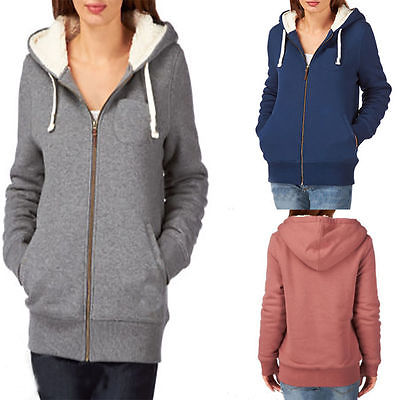 Women Winter Oversize Zip Up Hoodies Ladies Long Sleeve Sweater Jacket Coat  Top 9e03b3b74e