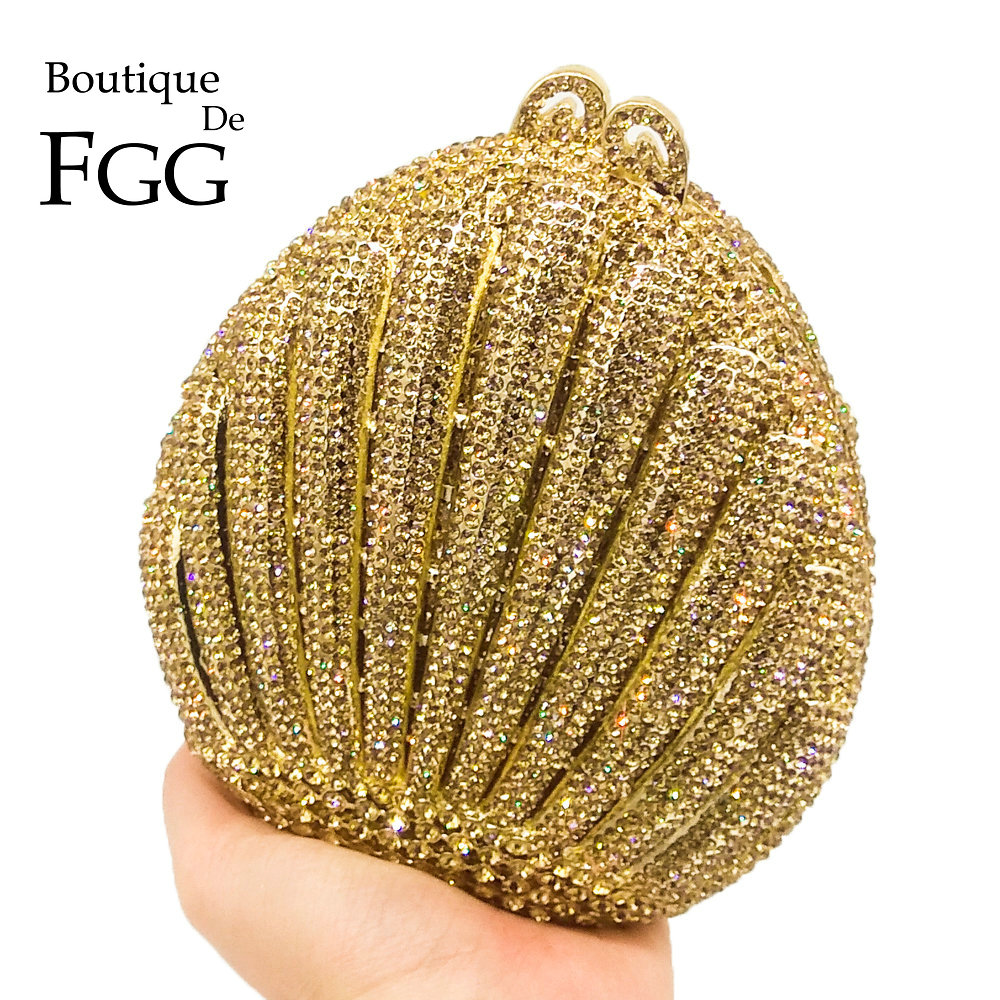 Boutique De FGG Dazzling Golden Egg Shape Hollow Out Women Crystal Evening Bags Wedding Party Banquet Minaudiere Handbag Clutch stylish cat eye shape golden frame and hollow out design sunglasses for women