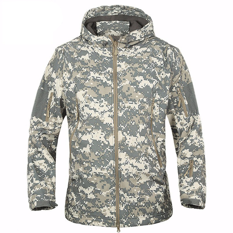 Camouflage Jacket Military Outdoor Jacket Men Sport Softshell Waterpoof Hunting Clothes Tactical Camouflage Army Hoodie Jacket military jacket men outdoor sport winter thermal breathable tactical jacket windproof softshell hunting army jacket