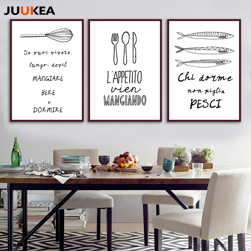 Kitchen food baking black white minimalism design canvas - Poster mural noir et blanc ...