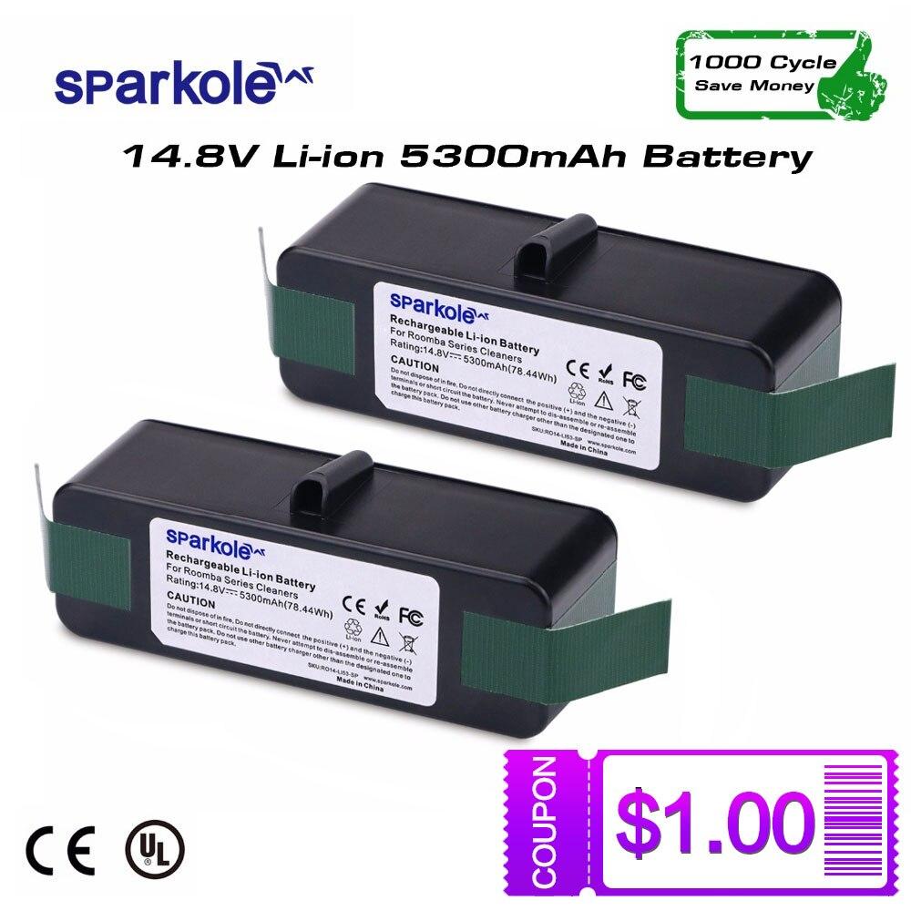 Sparkole 2 pack 5300 mAh 14,8 V batería de litio recargable para iRobot Roomba 550, 560, 620, 650, 760, 770, 780 870, 880, 500, 600, 700, 800