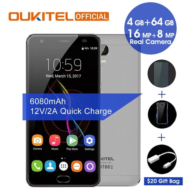 "Oukitel K6000 Plus Android 7.0 MTK6750T Octa Core 4G RAM 64G ROM 5.5"" FHD 6080mAh Fingerprint 12V/2A Quick Charge Smartphone"