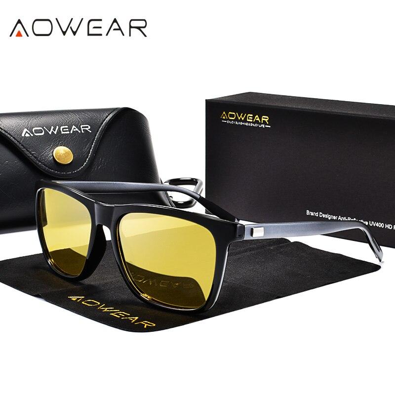 Aowear hd visão noturna óculos de sol lente amarela de alumínio dos homens polarizados noite segura condução óculos de sol