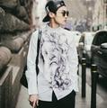 M-5XL Японский стиль 2015 весна новых Корейских мужчин Slim fit рубашка повседневная мужская ретро белый аннотация печати с длинным рукавом рубашки D3732