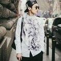M-5XL estilo Japonês 2015 primavera novos homens Coreano Slim fit camisa casual masculino branco retro abstrato impressão camisa de manga longa D3732