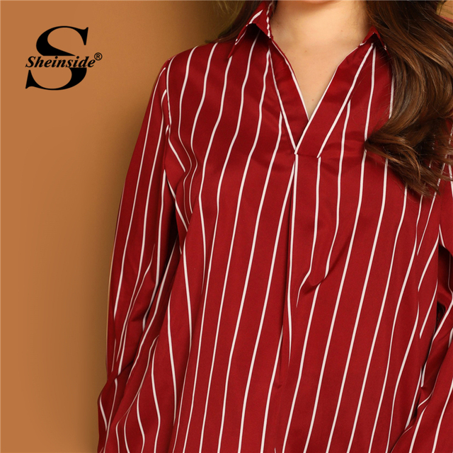 Sheinside Plus Size V Neck Striped Blouse Women Long Sleeve Top 2019 Spring Fashion Ladies Long Tops Burgundy Casual Blouses 4
