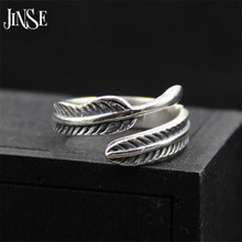 JINSE New Fashion Thai Silver Vintage Feather Rings for Women Adjustable Ring Leave 925 Jewelry