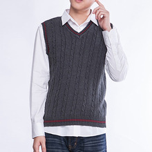 Men's Sweater Vest Sleeveless V-Neck Cotton Casual Vest Brand Knitted Pullover Waistcoat Asia/Tag Size M-2XL