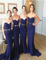 2016 New Arrival Sleeveless Sheath Floor Length Sweetheart Bridesmaid Gown Navy Blue Bridesmaid Dress Wedding Party