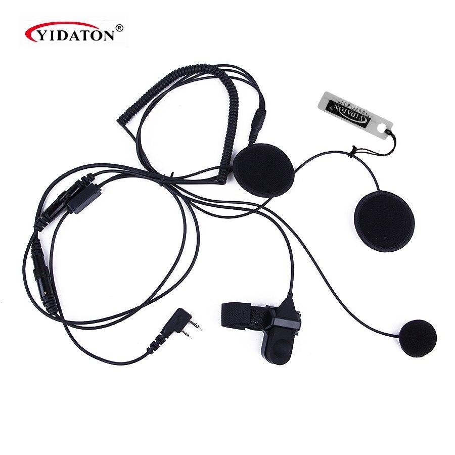imágenes para Accesorios 2 pin ptt auricular para walkie talkie motocicleta casco auricular para kenwood radio de dos vías auriculares