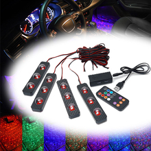 Newest Car RGB Lights Decorative Atmosphere Lights Wireless Remote/Music/Voice Control Car Interior Light 6x led strips motorcycle car styling air atmosphere interior light rgb 16 color ambient infrared remote wireless music control