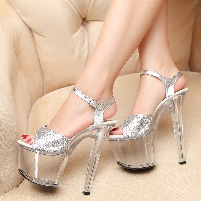 JOYHOPY Silver 20cm Super High Heels Women Gladiator Sandals Woman Party Platform Crystal Shoes Sandalias Mujer Plus Size 34- 43